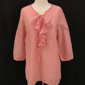 Red & white stripe cotton blouse